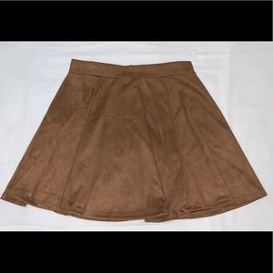 Tan Suede Flared Skirt
